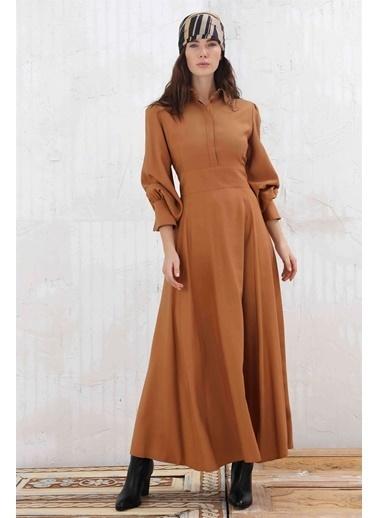 Vivencia Gizli Pat Düğmeli Gömlek Yaka Kadın Elbise Tarçın Kahve